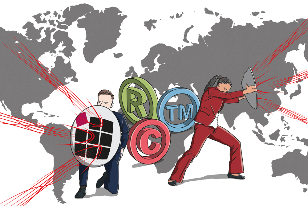 Illustration of Brand protection investigators blocking global internet attacks on brands.