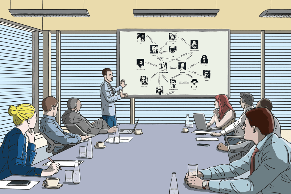 Illustration of a group of people watching an educational presentation