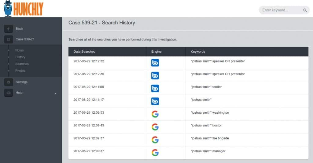 hunchly search history 1024x535 1 Corma Investigations