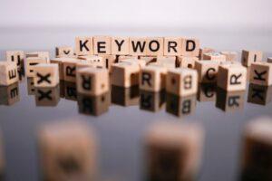 Keyword spelled with wooden blocks